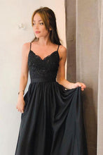 Elegant A-line Spaghetti-straps Long Black Prom Dress with Split OP351