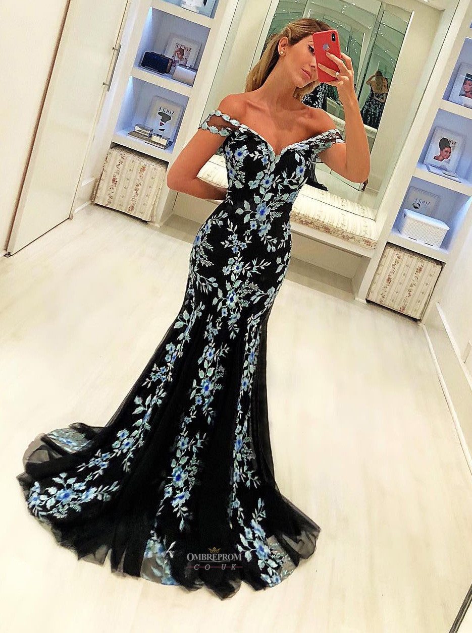 Elegant Black Mermaid Prom Dress With Appliques Formal Party Gown OP514