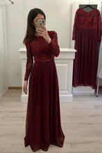 Elegant Burgundy Long Sleeves Chiffon Long Prom Dresses OP447