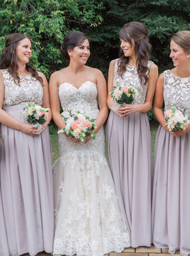 Elegant Jewel Lace Chiffon Open Back Long Bridesmaid Dresses OB167