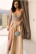 Elegant Long Prom Dress V-neck Evening Party Dress with Split OP363