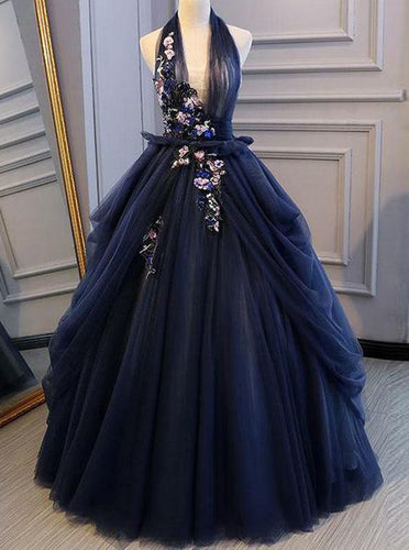 Elegant Navy Blue Long Prom Dress Halter Floral Appliques Backless Ball Gown OP575