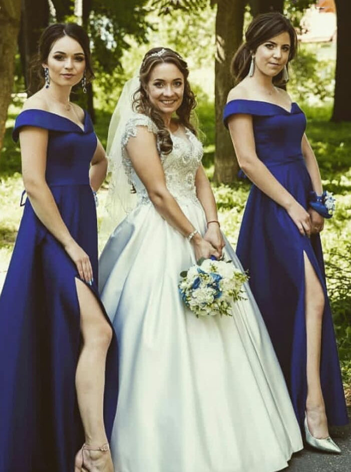a7456a224f99 Elegant Off-Shoulder Satin Long Bridesmaid Dresses With Split OB195 ...