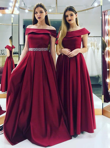 Elegant Off-the-shoulder Beaded Waist Satin Burgundy Bridesmaid Dresses OB188