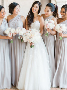 Elegant Pale Gray One Shoulder A-Line Chiffon Bridesmaid Dresses OB165