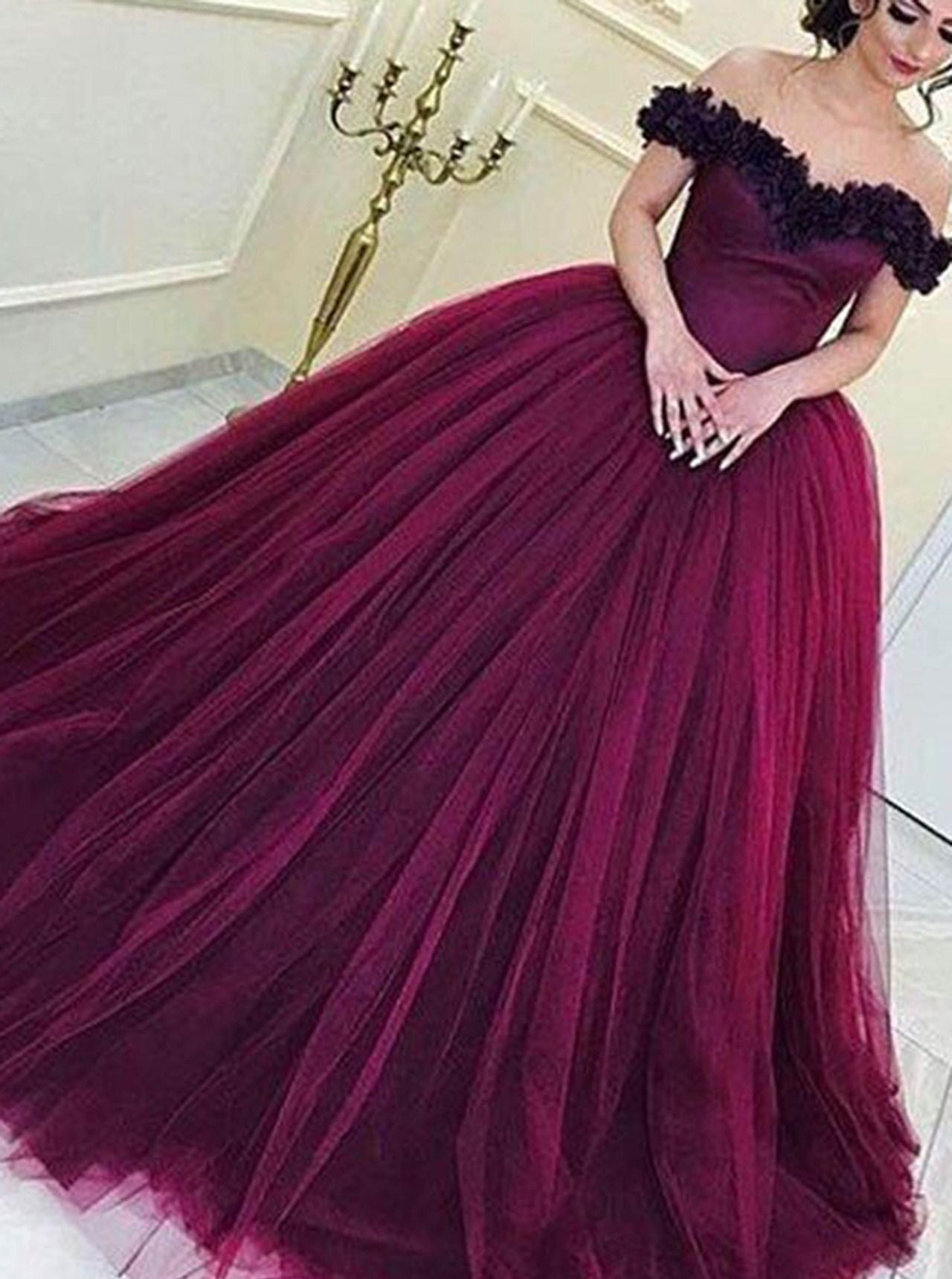 9717c132192e Elegant Grape Tulle Off the Shoulder Prom Dress Ball Gown Quinceanera Dress  OP362 ...
