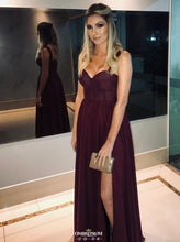 Elegant Straps Burgundy Prom Dress With Slit, Long Formal Party Gown OP541