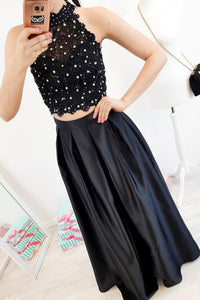 Elegant Two Piece Black Lace Prom Dress High Neck with Beading OP571