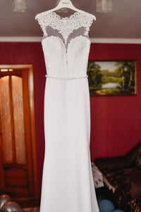 Elegant White Sheath Wedding Dress See-through Back Waist Beading OW361