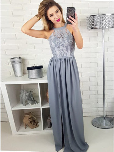 Lace Round Neck Floor-Length Satin Long Prom Dress with Split
