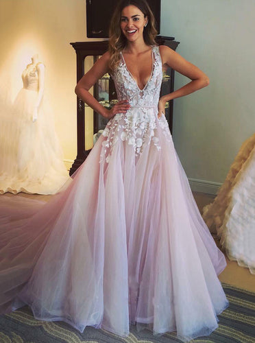Floral Appliques Blush Wedding Dress Tulle Plunging Neckline Bridal Gown OW401