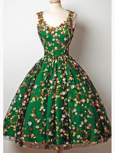 Green Homecoming Dress, Short Prom Dress with Floral Appliques, OP144