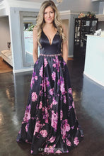 Floral Printed Black Long Prom Dress, A-Line V-neck Backless Formal Gown OP619