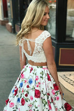 Floral Printed Two Piece Prom Dress Cap Sleeves with Pockets OP570