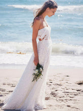 Flowy Boho Strapless Two Piece Backless Lace Beach Wedding Dress OW383