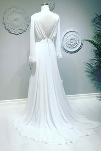 Flowy Chiffon V-neck Backless Long Sleeves Beach Maxi Wedding Dress OW366