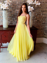 Flowy Yellow Chiffon Long Prom Gown Sexy Backless Evening Dresses OP487