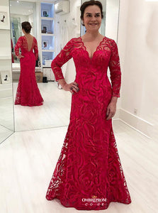 Fuchsia Lace Long Sleeves Sheath Mother of the Bride/Groom Dress MO106