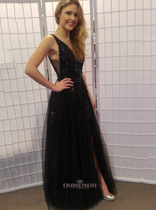 Glitter Black Long Prom Dresses Tulle V-neck Sequin With Split OP478