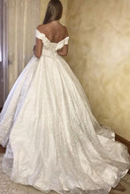 Glitter Off-the-shoulder Princess Ball Gown Wedding Dress OW363