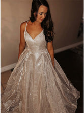 Glitter Princess A-Line Spaghetti Straps Sequins Long Prom Dress OP397
