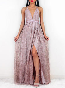 Glitter Spaghetti-straps Rose Gold Backless Prom Evening Dress With Split OP377