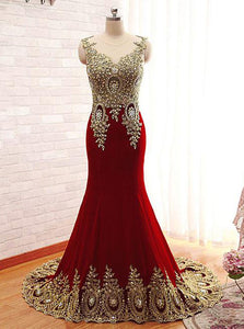 Gold Applique Burgundy Long Mermaid Prom Dress OP676