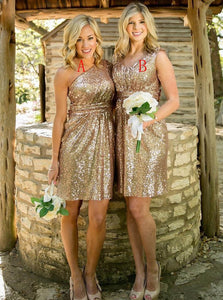 Gold Sequined Sexy Short Bridesmaid Dresses, Sparkly Party Dresses, OB104