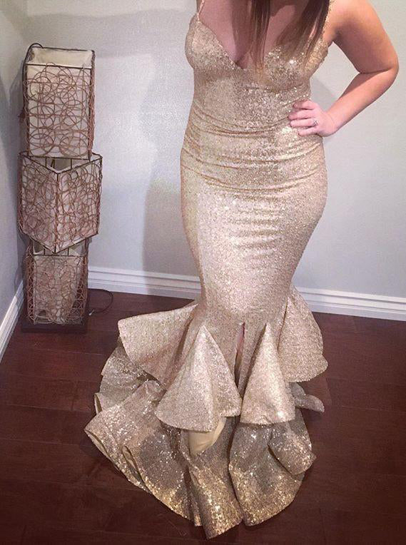 Gold Sequins Prom Dress Straps Sweetheart Mermaid Layered Formal Gown OP422