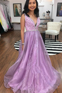 Gorgeous A-line Lilac Long Prom Dress Beading Party Gown OP592