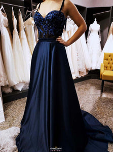 Gorgeous Dark Blue Long Prom Dresses Appliques Spaghetti Formal Gown OP529