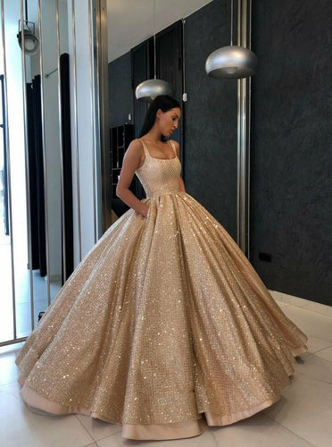 Ball Gown Quinceanera Gown Sequins Gold Sweet 16 Dress With Pockets OP699