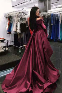 Gorgeous Off The Shoulder Burgundy Prom Dress Overskirt Formal Dress OP411
