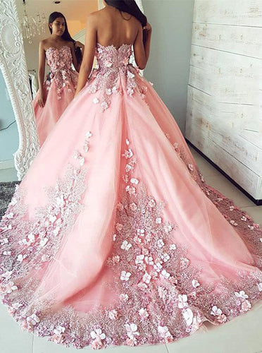Gorgeous Prom Dresses Sweetheart 3D Floral Appliques Quinceanera Gown OP698