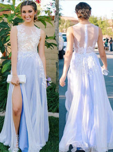Graduation Party Dresses For Teens Long Chiffon Prom Dress with Slit OP403