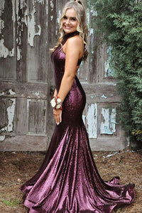 Buy Grape High Neck Sequins Mermaid Prom Party Dress OP457