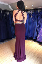 Grape Mermaid Long Two Piece Prom Dress With Beading OP348