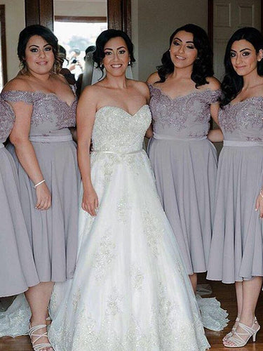 Gray Chiffon Short Bridesmaid Dresses Off-the-shoulder Tea-Length Dresses, OB172