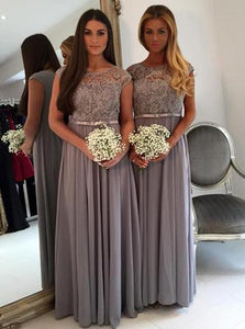 Gray Lace Cap Sleeves Chiffon A Line Long Bridesmaid Dresses OB161