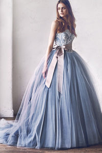 Gray Lace Tulle Princess Wedding Dress With Bowknot, Ball Gown Prom Dress OW339