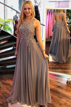 Gray Round Neck Long Chiffon Prom Dress A-Line Open Back With Beading OP325