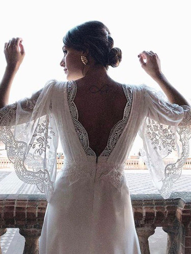 Half Sleeves The Boho Style Backless Beach Wedding Dress, OW316