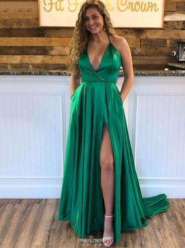 Green Halter Long Prom Dress V-Neck Slit Evening Gown OP549