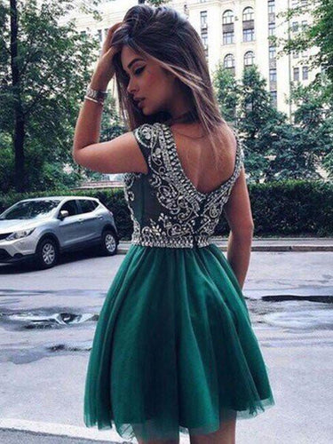 Chic V-Back Tulle Beading Homecoming Dresses With Rhinestones, OM102
