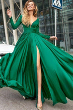 Green Long Prom Dress A-Line V-Neck Long Sleeves With Slit Front OP582