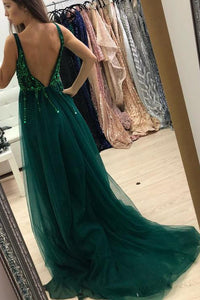 Green Sequins Long Prom Dress Backless A-Line V-neck Tulle with Split OP354