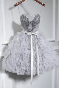 Grey Cute Sweet 16 Gown Spaghetti-straps Beaded Short/Mini Party Dress OM134