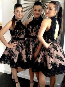 Halter A-Line Black Lace Appliques Open Back Short/Mini Bridesmaid Dresses OB145