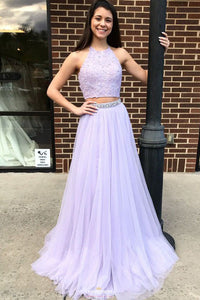 Halter Backless Lilac Two Piece Prom Dress with Beading OP517