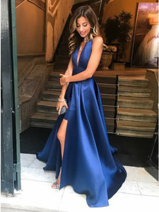 Royal Blue Halter Satin Backless Prom Dress, Sexy Split Evening Dress